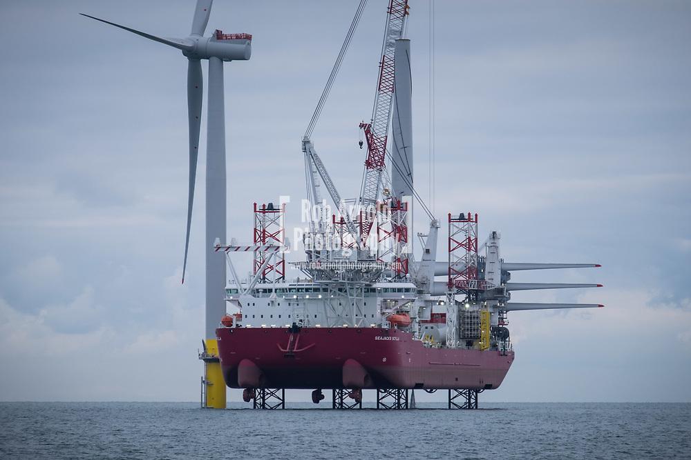 Seajacks Scylla working on the construction of Walney Extension Offshore Wind Farm in the Irish Sea, UK