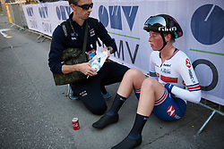 Alice Barnes (GBR) catches her breath after the UCI Road World Championships 2018 - Elite Women's ITT, a 27.7 km individual time trial in Innsbruck, Austria on September 25, 2018. Photo by Sean Robinson/velofocus.com