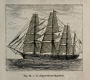 19th century Woodcut print on paper of the American Great Republic (1853 clipper) ship from L'art Naval by Leon Renard, Published in 1881