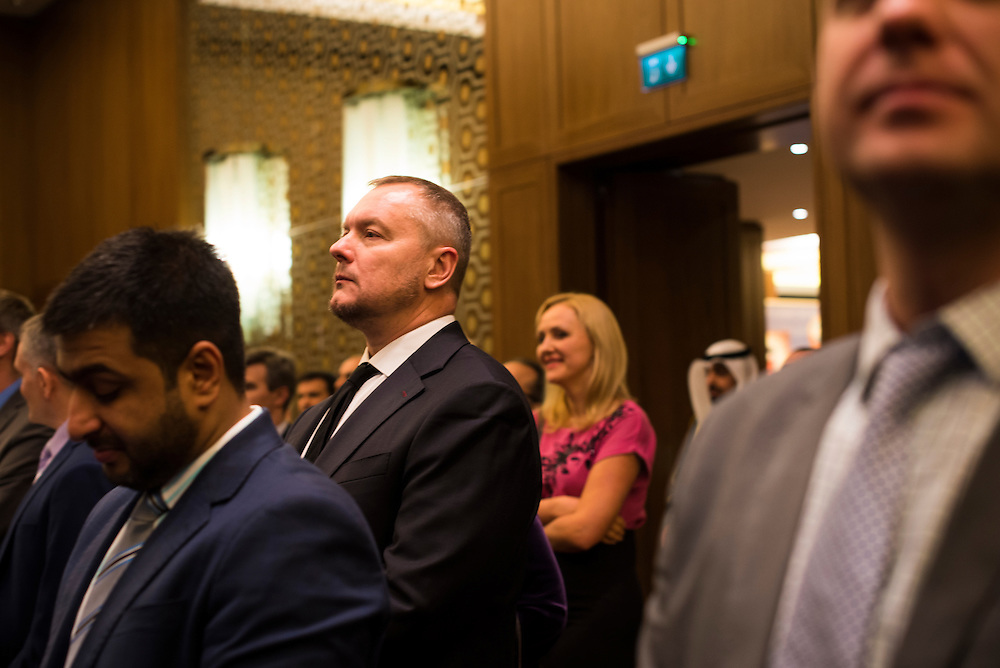 Andrey Artemenko listens to speeches during an event for the Kuwaiti Embassy on February 22, 2017 in Kiev, Ukraine