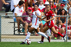 NORMAL, IL - August 10: Emily Adelman & Becca Jostes during a nonconference exhibition women's soccer match between the Southern Illinois Edwardsville Cougars and the Illinois State Redbirds August 10 2019 on Adelaide Street Field in Normal IL (Photo by Alan Look)