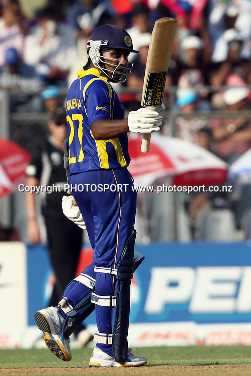 Sri Lankan batsman Mahela Jayawardane celebrates half century During the ICC Cricket World Cup - 38th Match, Group A Sri Lanka vs New Zealand  Played at Wankhede Stadium, Mumbai (neutral venue) 18 March 2011 - day/night (50-over match)