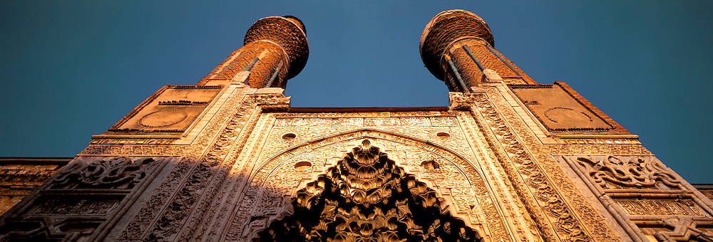 TURKEY, SIVAS, SELCUK Gok Medrese facade and minarets