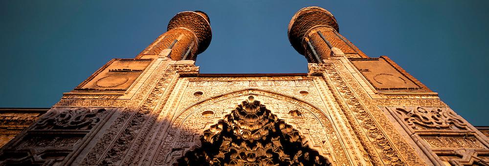 TURKEY, SIVAS, SELCUK Gok Medrese facade and minarets