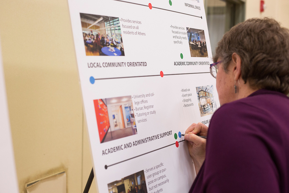 Dianne Bouvier places a dot on the board to indicate what she wants the future interior of Park Place to be used for during the Park Place public planning workshop at the Athens Community Center on Feb. 22, 2017.
