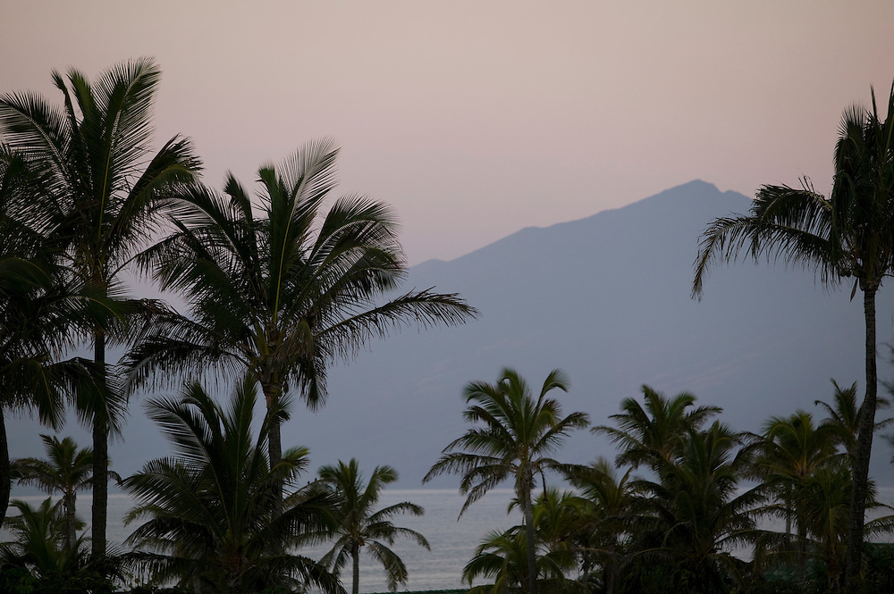 East Molokai thru Palm trees from Kapalua on Maui