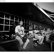 Joc Pederson, (left) and Yasiel Puig, Los Angeles Dodgers, in the dugout preparing to bat during the New York Mets Vs Los Angeles Dodgers MLB regular season baseball game at Citi Field, Queens, New York. USA. 25th July 2015. Photo Tim Clayton
