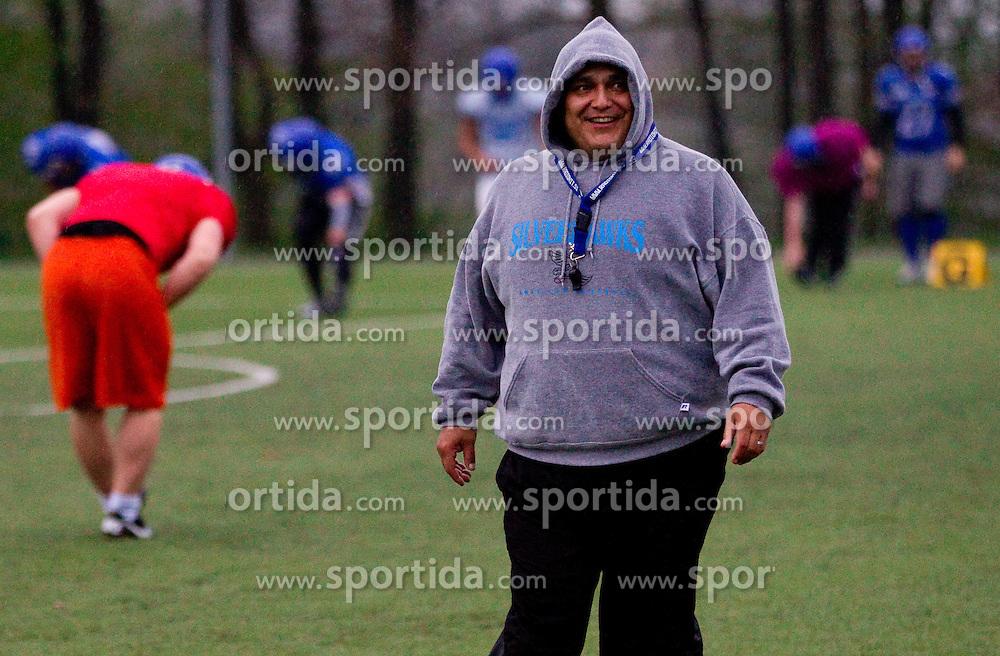 Mark Garza, head coach during practice session of American Football Team Ljubljana Silverhawks, on April 11, 2012, in Radomlje, Slovenia. (Photo by Vid Ponikvar / Sportida.com)