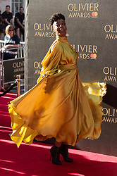 © Licensed to London News Pictures. 09/04/2017. NOMA DUMEZWENI attends The Olivier Awards held at the Royal Albert Hall. London, UK. Photo credit: Ray Tang/LNP