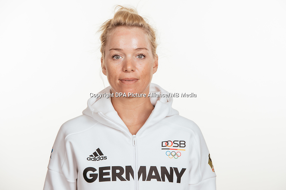 Charlotte Becker poses at a photocall during the preparations for the Olympic Games in Rio at the Emmich Cambrai Barracks in Hanover, Germany, taken on 15/07/16 | usage worldwide