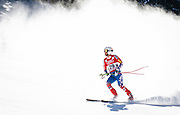 SHOT 12/4/15 11:59:54 AM - American skier Marco Sullivan throws up snow as he slides to a stop in the finish area at the 2015 Audi Birds of Prey Downhill at Beaver Creek Ski Resort in Beaver Creek, Co. Birds of Prey is the only men's Audi FIS Ski World Cup stop in the United States. (Photo by Marc Piscotty / © 2015)