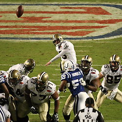 2010 February 07: New Orleans Saints PK Garrett Hartley (5) connects on a field goal during a 31-17 win by the New Orleans Saints over the Indianapolis Colts in Super Bowl XLIV at Sun Life Stadium in Miami, Florida.