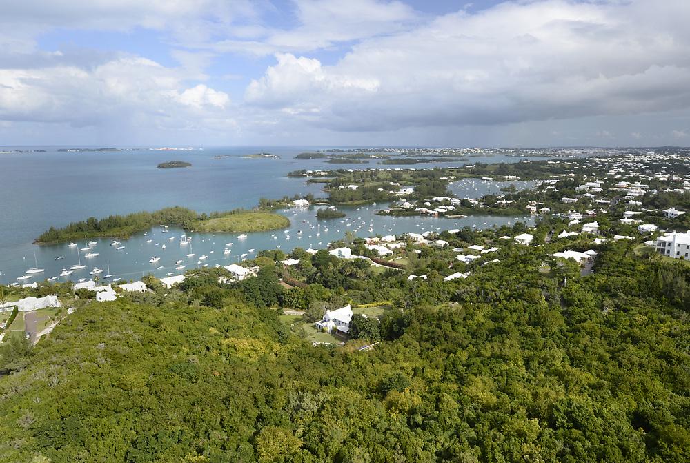 View over Great Sound, Bermuda Island, a British island territory in the North Atlantic Ocean.
