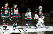 KELOWNA, CANADA - SEPTEMBER 28:  Pepsi Player of the game in the line up with Michael Herringer #30 of Kelowna Rockets, Gordie Ballhorn #4 of Kelowna Rockets and Cal Foote #25 of Kelowna Rockets at the Kelowna Rockets game on September 28, 2016 at Prospera Place in Kelowna, British Columbia, Canada.  (Photo By Cindy Rogers/Nyasa Photography,  *** Local Caption ***