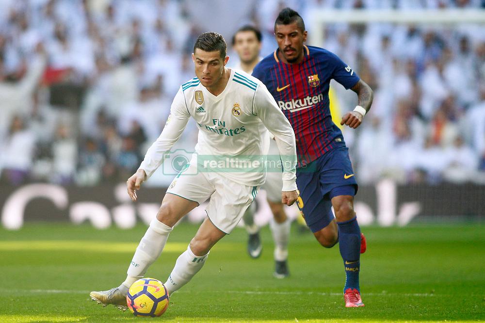 Real Madrid's Cristiano Ronaldo (l) and FC Barcelona's Paulinho during La Liga match. Madrid, Spain, on December 23, 2017. Photo by Acero/AlterPhotos/ABACAPRESS.COM