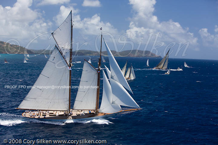 Eleonora sailing the Old Road Race at the Antigua Classic Yacht Regatta