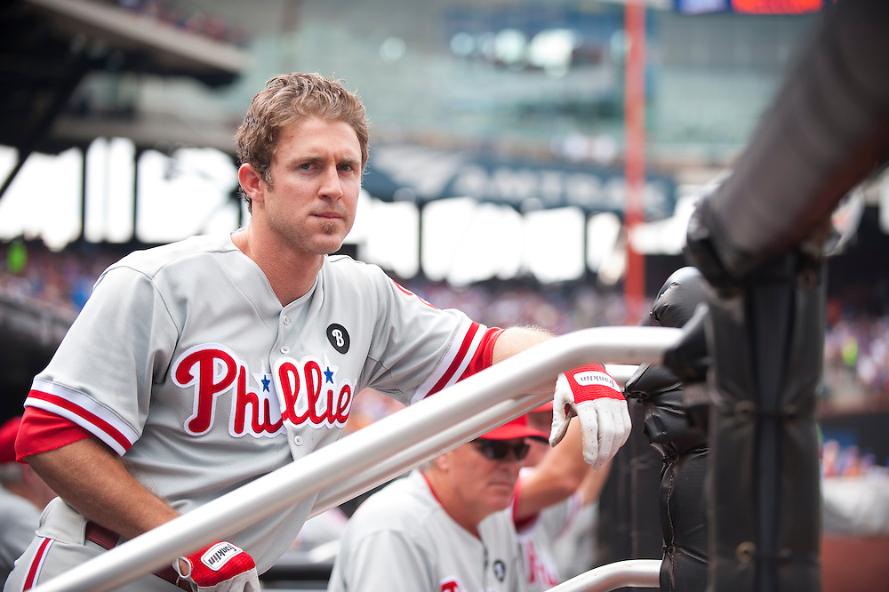 NEW YORK - JULY 16: Chase Utley #26 of the Philadelphia Phillies looks on during the game against the New York Mets at Citi Field on July 16, 2011 in the Queens borough of Manhattan. (Photo by Rob Tringali) *** Local Caption *** Chase Utley