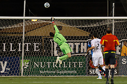 July 20, 2011; Santa Clara, CA, USA;  Vancouver Whitecaps goalkeeper Joe Cannon (1) makes a save against the San Jose Earthquakes during the second half at Buck Shaw Stadium. San Jose tied Vancouver 2-2.