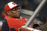 PHOENIX, AZ - JULY 22:  Dusty Baker #12 of the Washington Nationals watching batting practice for the MLB game against the Arizona Diamondbacks at Chase Field on July 22, 2017 in Phoenix, Arizona.  (Photo by Jennifer Stewart/Getty Images)