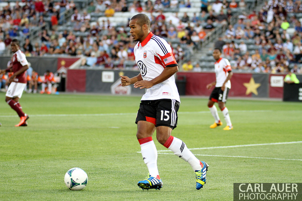 July 7th, 2013 - D.C. United defender Ethan White (15) controls the ball in the first half of action in the Major League Soccer match between D.C. United and the Colorado Rapids at Dick's Sporting Goods Park in Commerce City, CO