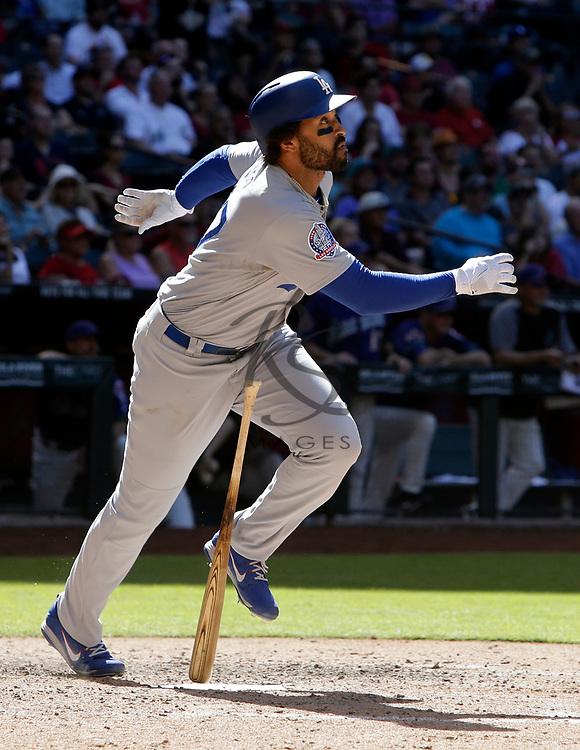 Los Angeles Dodgers left fielder Matt Kemp (27) in the first inning during a baseball game against the Arizona Diamondbacks, Thursday, May 3, 2018, in Phoenix. (AP Photo/Rick Scuteri)