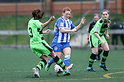 Brighton's Jade Widdows is tackled by Forest Green's Sophie OkeyBrighton's Jade Widdows and Forest Green's Sophie Okey clash for the ball during the FA Women's Premier League match between Forest Green Rovers Ladies and Brighton Ladies at the Hartpury College, United Kingdom on 24 January 2016. Photo by Shane Healey.