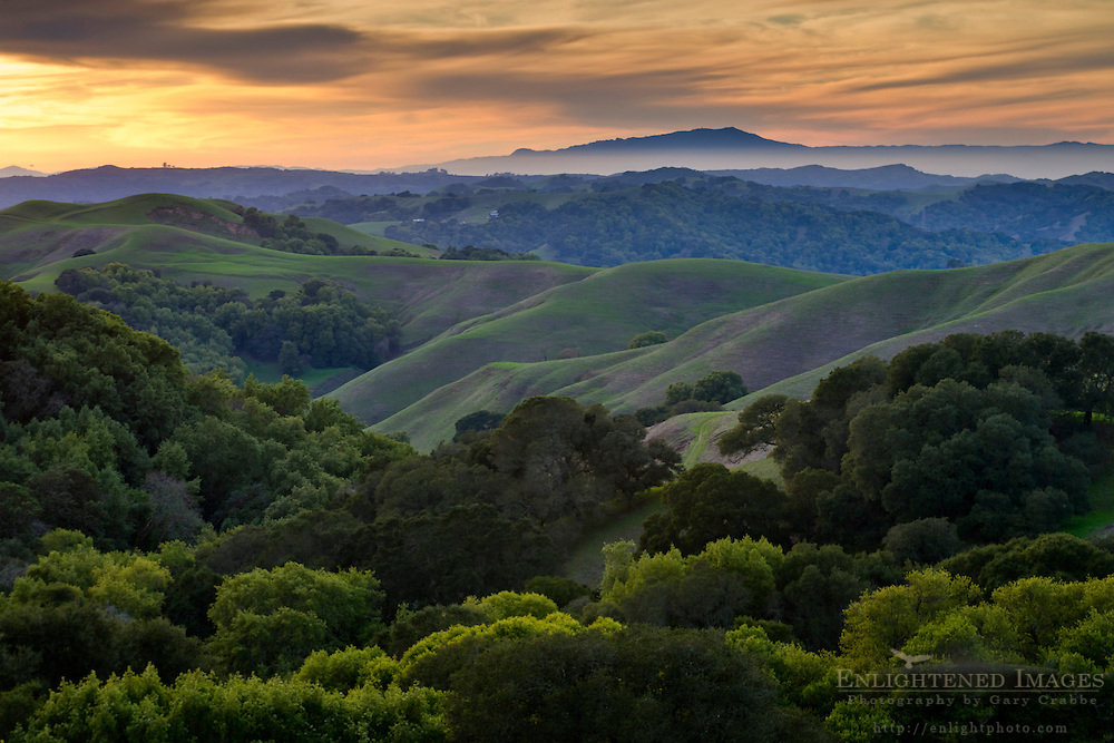 Sunset over the green east bay hills (looking toward Mount Tamalpais in distance) from Briones Regional Park, Contra Costa County, California