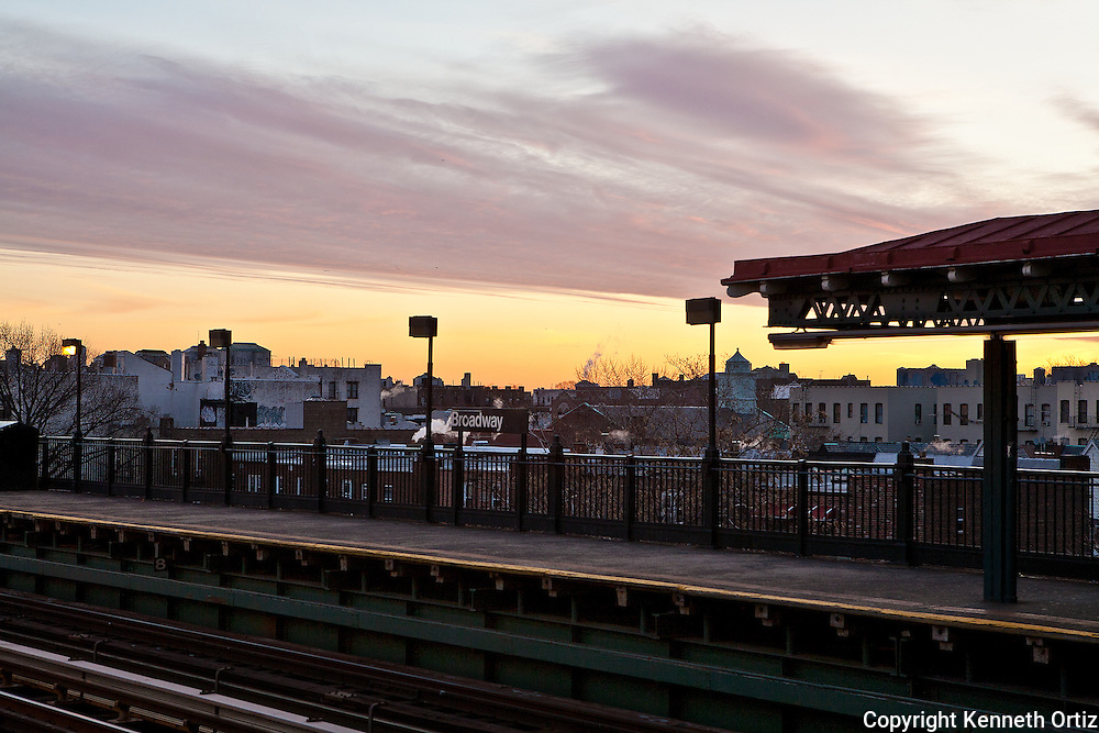 An early morning winter day at the Broadway train station in Astoria Queens.
