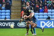 Wasps lock James Gaskell (4) gets a kick away under pressure during the Aviva Premiership match between Wasps and London Irish at the Ricoh Arena, Coventry, England on 4 March 2018. Picture by Dennis Goodwin.