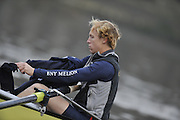 LONDON, ENGLAND - Thursday  13/12/2012 : Oxford University crews Hurricane  bowman James STEPHENSON, prepares for the annual Varsity trial 8's for The BNY Melon University Boat Race over the Championship Course [Putney to Mortlake]. The River Thames, England. (Mandatory Credit/ Peter  Spurrier/Intersport Images)