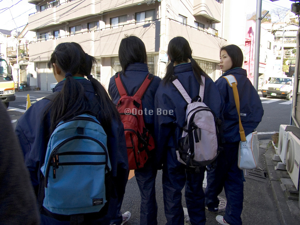 Japanese teenager school kids on there way to school