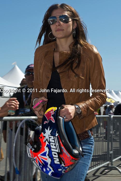 Adriana Stoner of Australia, wife of Repsol Honda Team rider Casey Stoner, during the US Grand Prix at Mazda Raceway Laguna Seca, Sunday, July 24, 2011.