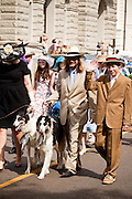 CHARLESTON, SC - APRIL 3: Members of the Charleston Hat Ladies Society hold their annual Easter Hat Promenade April 3, 2010 through downtown Charleston, SC. About 200 women and men wearing hats participated in the parade held annually for charity.     (Photo Richard Ellis)