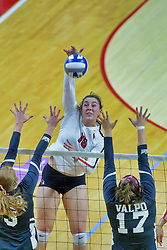 BLOOMINGTON, IL - October 12: Monica Miller during a college Women's volleyball match between the ISU Redbirds and the Valparaiso Crusaders on October 12 2018 at Illinois State University in Bloomington, IL. (Photo by Alan Look)