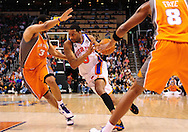 Mar. 26 2010; Phoenix, AZ, USA; New York Knicks guard Tracy McGrady (3) drives the ball against Phoenix Suns forward Jared Dudley (3) in the first half at the US Airways Center.  Mandatory Credit: Jennifer Stewart-US PRESSWIRE.