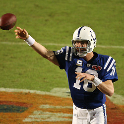 2010 February 07: Indianapolis Colts quarterback Peyton Manning (18) passes the ball during a 31-17 win by the New Orleans Saints over the Indianapolis Colts in Super Bowl XLIV at Sun Life Stadium in Miami, Florida.