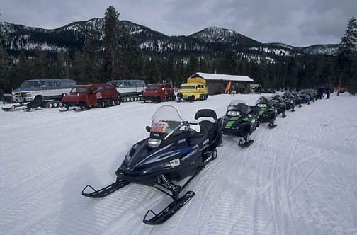 Yellowstone National Park, Snowmobiling in park. Winter.