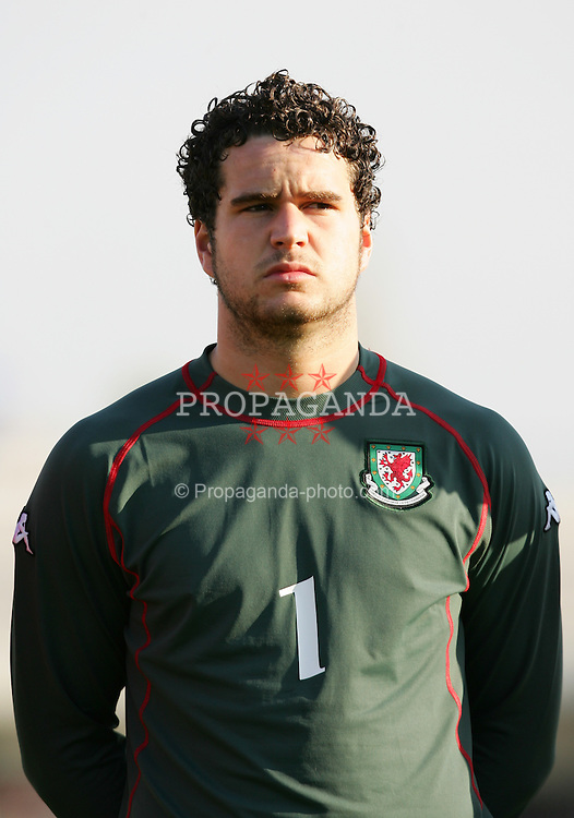 PAPHOS, CYPRUS - TUESDAY, NOVEMBER 15th, 2005: Wales' goalkeeper Sam Pearce lines-up to face Cyprus during the Under-21 International Friendly match at the Paphiako Stadium. (Pic by David Rawcliffe/Propaganda)