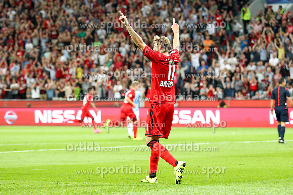 26.08.2015, BayArena, Leverkusen, GER, UEFA CL, Bayer 04 Leverkusen vs Lazio Rom, Playoff, R&uuml;ckspiel, im Bild Stefan Kiessling (#11, Bayer 04 Leverkusen) jubelt ueber das Tor zum 1zu0 // during UEFA Champions League Playoff 2nd Leg match between Bayer 04 Leverkusen and SS Lazio at the BayArena in Leverkusen, Germany on 2015/08/26. EXPA Pictures &copy; 2015, PhotoCredit: EXPA/ Eibner-Pressefoto/ Deutzmann<br /> <br /> *****ATTENTION - OUT of GER*****
