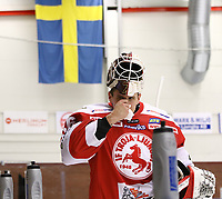 2020-02-01 | Ljungby, Sweden: Troja-Ljungby (36) Wictor Ragnewall during warm up before the game between IF Troja / Ljungby and Skövde IK at Ljungby Arena ( Photo by: Fredrik Sten | Swe Press Photo )<br /> <br /> Keywords: Ljungby, Icehockey, HockeyEttan, Ljungby Arena, IF Troja / Ljungby, Skövde IK, fsts200201, ATG HockeyEttan, Allettan