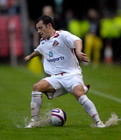 Photo: Jed Wee/Sportsbeat Images.<br /> Darlington v Sunderland. Pre Season Friendly. 18/07/2007.<br /> <br /> Sunderland's Ross Wallace fights to keep his balance in the downpour.