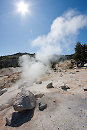 Steam rises from a natural fumarole, Lassen National Park