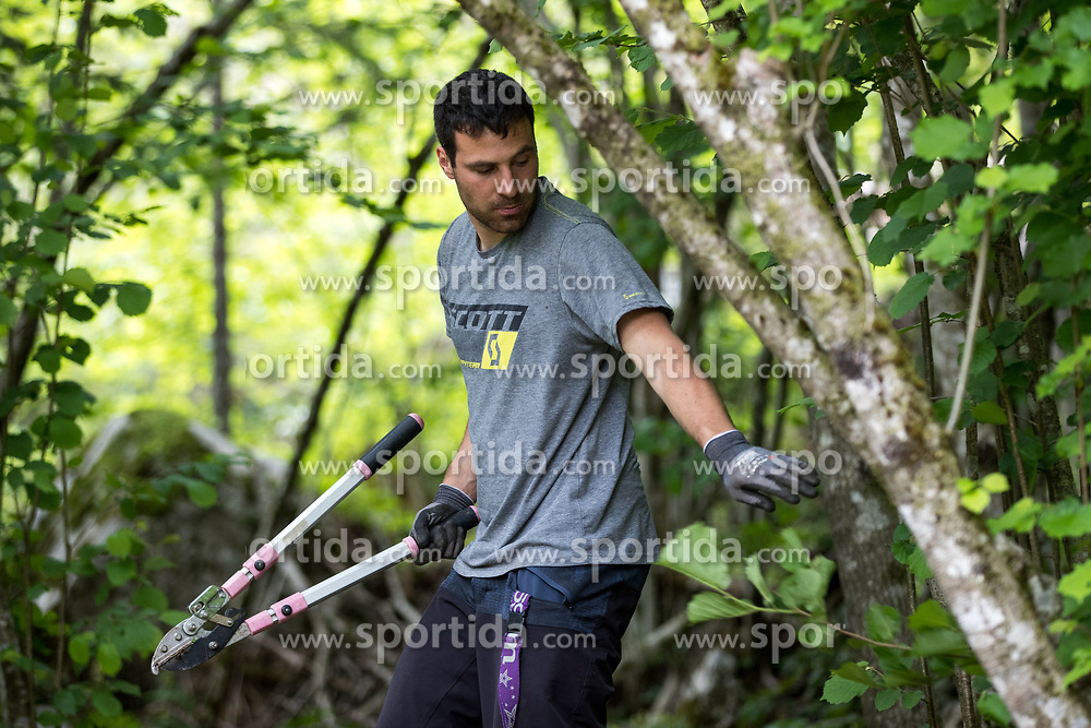Construction working of downhill course with cyclist Primoz Figaro Ravnik, on May 18, 2018 in Ukanc, Bohinj, Slovenia. Photo by Matic Klansek Velej / Sportida
