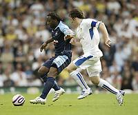 Photo: Aidan Ellis.<br /> Leeds United v Swansea City. Coca Cola League 1. 22/09/2007.<br /> Swansea's Jason Scotland battles with Leeds Johnathon Douglas