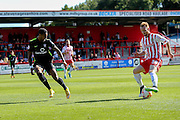 York City forward Vadaine Oliver tries to cover Stevenage Defender on loan from Tottenham Connor Ogilvie during the Sky Bet League 2 match between Stevenage and York City at the Lamex Stadium, Stevenage, England on 12 September 2015. Photo by Simon Davies.