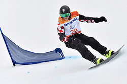BOSNJAK Bruno CRO competing in ParaSnowboard, Snowboard Banked Slalom at  the PyeongChang2018 Winter Paralympic Games, South Korea.