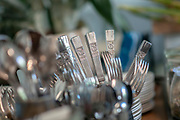 Silver cutlery ready for a dinner party