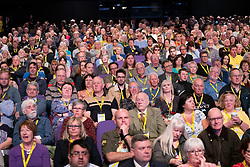 Edinburgh, Scotland, UK. 27 April, 2019. SNP ( Scottish National Party) Spring Conference takes place at the EICC ( Edinburgh International Conference Centre) in Edinburgh. General view of delegates at conference.