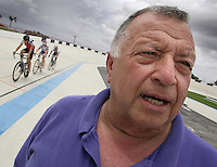 Coach Carlos Lavorde speaks with El Sentinel at the Bryan Piccolo park's velodrome on Monday June 29, 2009. Staff photo/Cristobal Herrera.