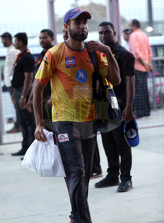Imran Tahir of Rising Pune Supergiant arrives for the  match 9 of the Vivo 2017 Indian Premier League between the Rising Pune Supergiants and the Delhi Daredevils held at the MCA Pune International Cricket Stadium in Pune, India on the 11th April 2017<br /> <br /> Photo by Sandeep Shetty- IPL - Sportzpics